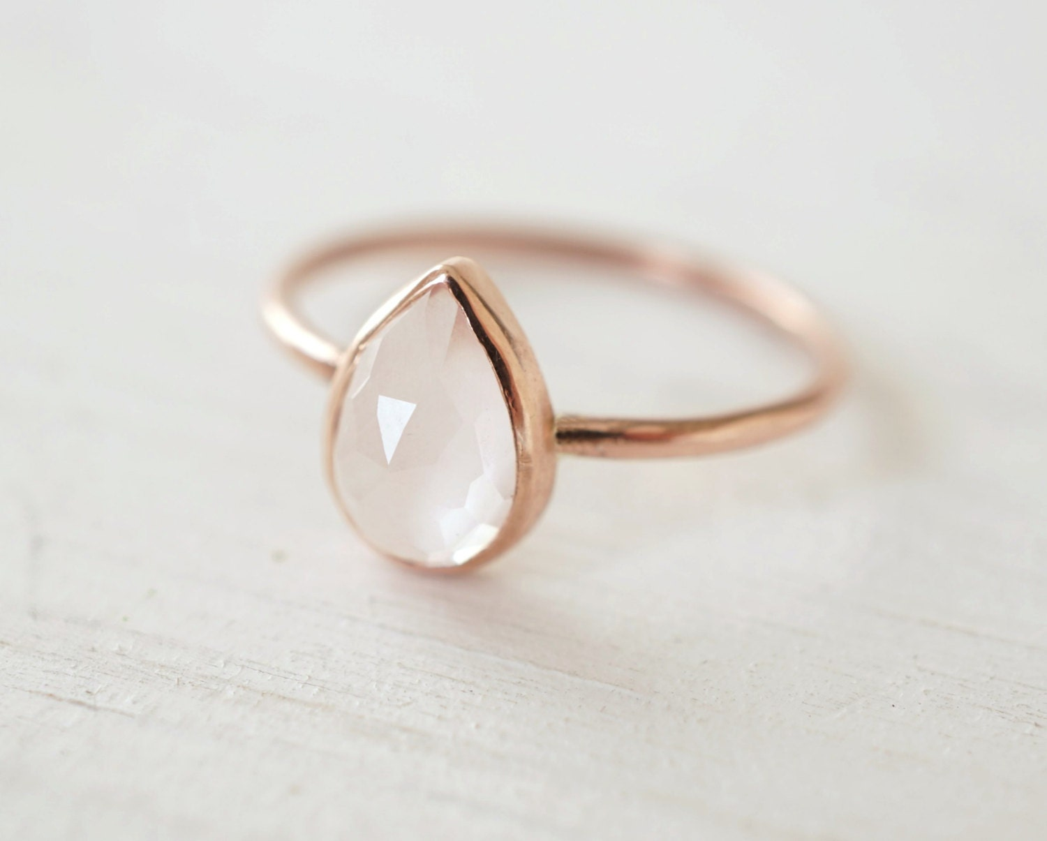 Rose quartz ring teardrop ring engagement ring rose by for Quartz wedding rings