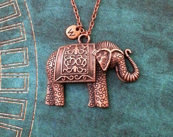 Elephant Necklace LARGE Elephant Jewelry Copper Elephant Pendant Necklace Indian Elephant Charm Necklace Ornamental Engraved Carved Elephant