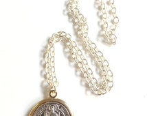 St. Benedict Big Medal Necklace strong silver plated chain San Benito Necklace Medalla San Benito Catholic jewelry religious medals