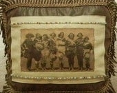 Vintage Cowgirls Photo Transferred onto Linen Fabric onto Faux Leather Pillow with Bullion Fringe