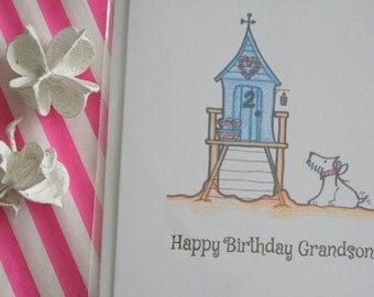 Grandson birthday card, Westie card, seaside beach hut card - 'Susie goes to the seaside' A6 card with envelope