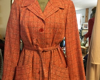 Vintage 60s 70s Pendleton Plaid Jacket with Belt