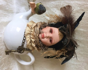 Freeda Sparrow - Found object bird tea pot art doll upcycled steampunk vintage assemblage art OOAK