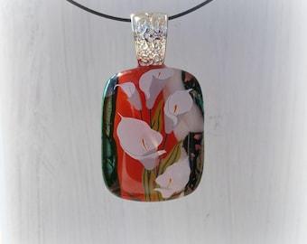 Calla flowers fused glass pendant.