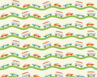 Boys Cotton Fabric, Riley Blake Wheels 2 C5042 Cream, Deena Rutter, Cars on the Road, Cotton Fabric for Boys, Quilt Fabric