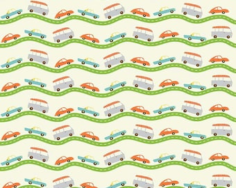 Boys Cotton Fabric, Riley Blake Wheels 2 C5042 Cream, Deena Rutter, Cars on the Road, Cars Cotton Fabric for Boys, Quilt Fabric