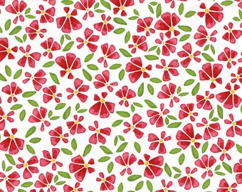 Red Floral Fabric, Wild by Nature, Maywood Studios MAS8448WP, Kathy Deggendorfer, Cotton, Red & White Floral Fabric Yardage, Quilting Cotton