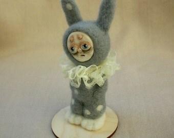 Little bunny. Felted doll. Needle felted. Paperclay art doll. Art doll. Felted bunny. Small dolls. Wool doll. Rabbit doll. Hare. Felt hare.