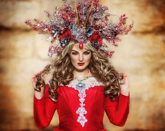 Ready to Ship +++ beautiful Winter Fairy Season Headpiece Berries Jewels Flowers Karneval Rio Burlesque Headdress