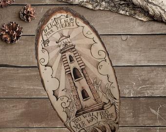 Lighthouse - Nautical Decor - Rustic Sign - Art on Wood - Wood burning - Modern Art - Tattoo - Pyrografie kunst - Hout branden TimberleeEU