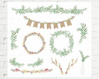 Set of 10 Botanical Ferns / Floral Designs / Wreaths + Laurels