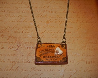 Wooden Ouija Board Necklace Hand Sculpted From Polymer Clay