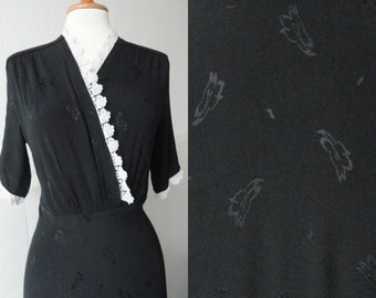 40s Vintage Maxi Dress // Black Silk Crepe With White Lace