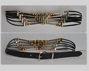 80s Vintage Leather And Metal Belt // Gold And Silver