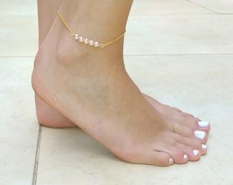 Pearl Anklet , pearl ankle bracelet , wedding anklet , pink pearls anklet , foot jewelry , gold anklet , beach wedding , ankle bracelet