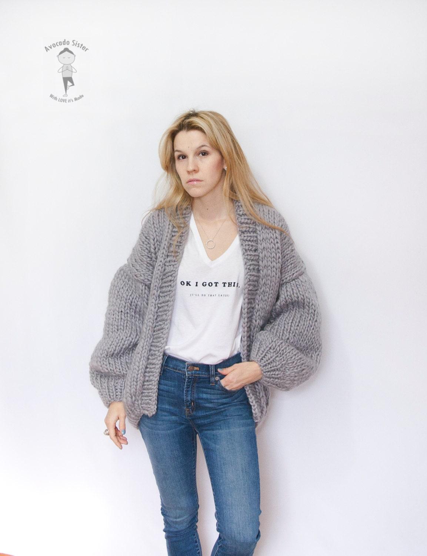 Knit Cardigan Oversized Knitted Cardigan Grey Sweater