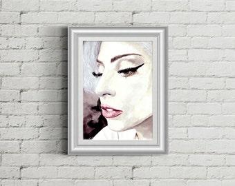 Lady Gaga portrait acrylic painting  PRINT