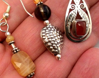 Carnelian or Brown Topaz Earrings. Sterling Silver. 8 to choose from! Rust, Red, Orange, Yellow. free US ship