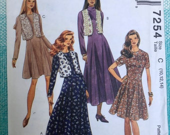 1990s McCall's 7254 EASY Sewing Pattern Ladies Misses Princess Seams Party Fit and Flare Dress Round Neck Vest Size 10-12-14 Bust 32-34-36