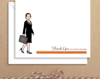 Briefcase Note Cards - Thank You Folded Notes - Business Woman Thank You - Illustrated Note Cards