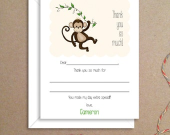 Fill-in Thank You Notes - Monkey Flat Notes - Childrens Thank You Cards- Illustrated Note Cards