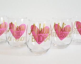 2 Personalized Bridesmaid Wine Glasses, Personalized Bachelorette Glasses, Bachelorette Party Wine Glass