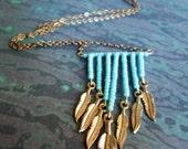 Turquoise Fringe Necklace and Earring Set