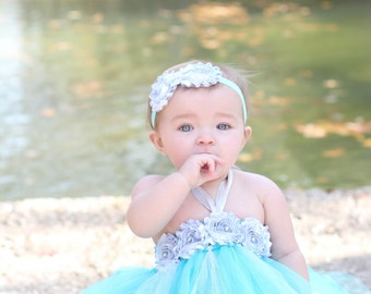 Gorgeous Aqua And Silver Tutu Dress Shabby Chic Flower For Baby Girl 6