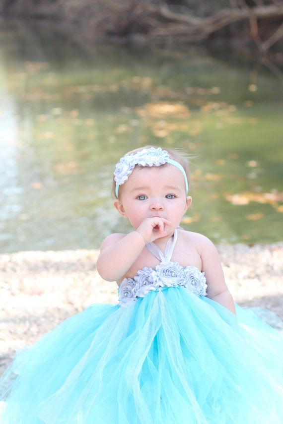 Gorgeous Aqua and Silver Tutu Dress Shabby Chic Flower Tutu Dress for Baby Girl 6-18 Months First Birthday Pageant Dress
