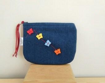 Denim purse, denim coin purse,denim wallet, denim fabric,blue purse, blue coin purse,butterfly purse,butterflies coin purse, blue fabric bag
