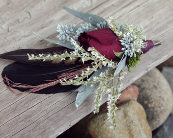 dark feather and rose boutonniere, blush and berry, marsala boutonniere, red rose boutonniere, pheasant feather boutonniere, sage lapel pin