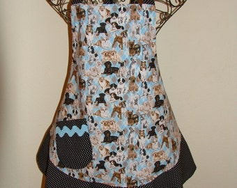 Women's Medium Adorable Blue Dog Print Apron