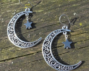 Big Silver Crescent Moon Earrings With Hematite Stars & Hypoallergenic Titanium Ear Wires - Gypsy - Boho