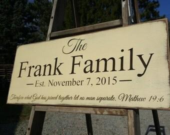 "Personalized Carved Wooden Sign - ""Family EST Sign - Matthew 19:6 "" - 10""x24"""
