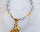 Rosary Bracelet - Saint Mary Magdalene Blue Crystal - 18K Gold Vermeil