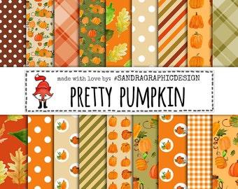 Digital paper Pretty Pumpkin, autumn digital paper, pumpkin digital paper, for scrapbooking, card making  (1268)