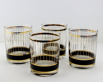 Vintage Culver Devon Black 22K Gold Double Old Fashioned Rocks Glasses Set Of 4