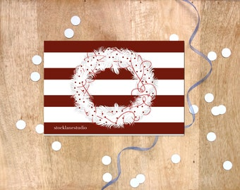 Wreath Christmas Card, Winter Solstice Card BLANK inside, Holiday Card red white stripes card, office card set of 4 or 6, stock lane studio
