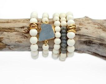 White Wood Bracelet Set, Labradorite Bracelet, Stretch Bracelet, Brass Bead Bracelet, Gold Bead Bracelet, Simple Bracelet, Boho Bracelet