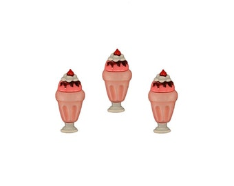 Ice Cream Sundae Buttons Pink Strawberry Chocolate Hot Fudge Whipped Cream Topping Cherry On Top Sweet Delight Miniature Dessert Shoppe Food