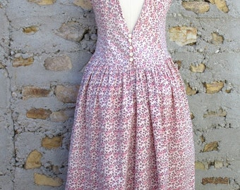 Vintage Cotton Low Back Sundress in Indian Print - Size S