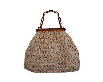 1960s large RAFIA purse BAG // Bohemian rafia Top Handle bag