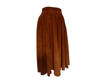 80s vintage suede full SKIRT // leather Skirt //size eu38 - us 6 - uk10