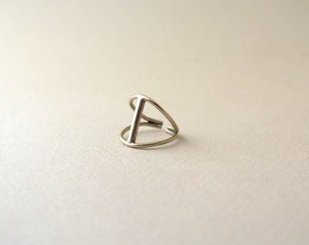 geometric minimal silver sterling ring/t strap ring/bar modern ring silver