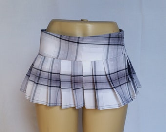 White Micro Mini, Tartan, Stewart, School Girl Plaid Pleated Skirt (OPENS / CLOSES with hook and loop fasteners strip)