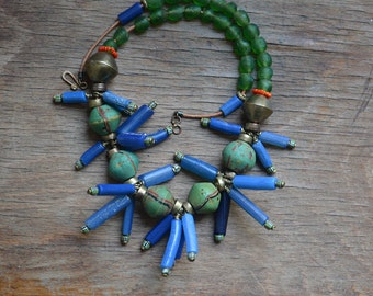 King trade bead and 'Aggry' bead necklace with Tuareg gold and Krobo beads