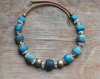 Hebron trade bead necklace with antique European trade beads