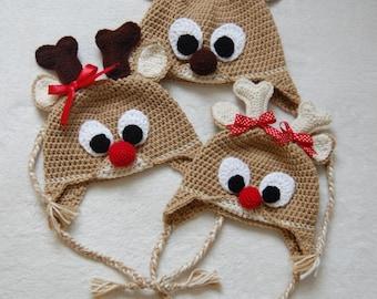 Reindeer crochet Hat