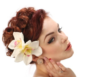 Rockabilly Pin Up White Double Orchid Hair flower clip fascinator