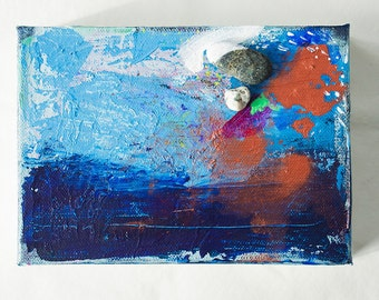 "Original 5"" x 7"" Blue abstract painting"